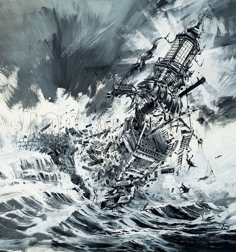 Destruction of the Eddystone Lighthouse, 1703