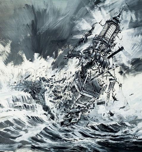 Destruction of the Eddystone Lighthouse, 1703