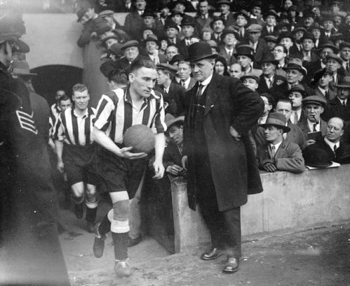 Newcastle United captain Jimmy Nelson leads his team out